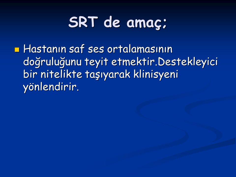 SRT de amaç; Hastanın saf ses ortalamasının doğruluğunu teyit etmektir.Destekleyici bir nitelikte taşıyarak klinisyeni yönlendirir. Hastanın saf ses o