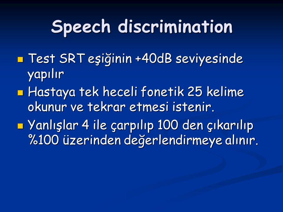 Speech discrimination Test SRT eşiğinin +40dB seviyesinde yapılır Test SRT eşiğinin +40dB seviyesinde yapılır Hastaya tek heceli fonetik 25 kelime oku