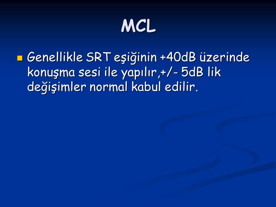 MCL Genellikle SRT eşiğinin +40dB üzerinde konuşma sesi ile yapılır,+/- 5dB lik değişimler normal kabul edilir. Genellikle SRT eşiğinin +40dB üzerinde