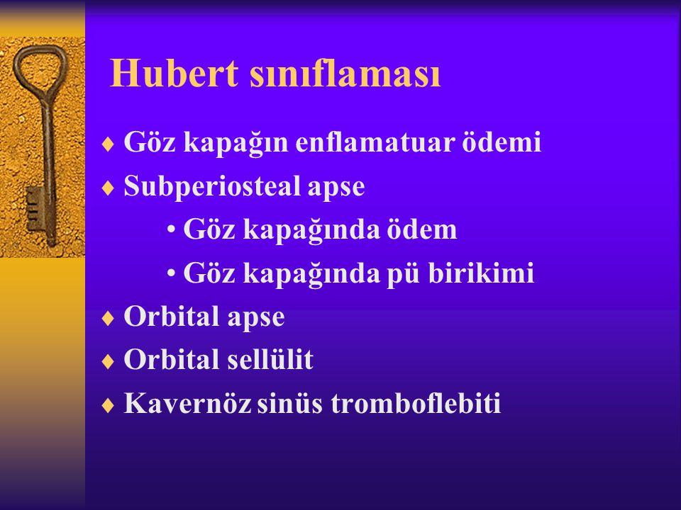 Hubert sınıflaması  Göz kapağın enflamatuar ödemi  Subperiosteal apse Göz kapağında ödem Göz kapağında pü birikimi  Orbital apse  Orbital sellülit