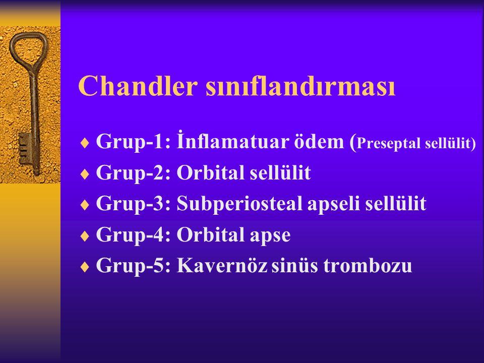 Chandler sınıflandırması  Grup-1: İnflamatuar ödem ( Preseptal sellülit)  Grup-2: Orbital sellülit  Grup-3: Subperiosteal apseli sellülit  Grup-4: