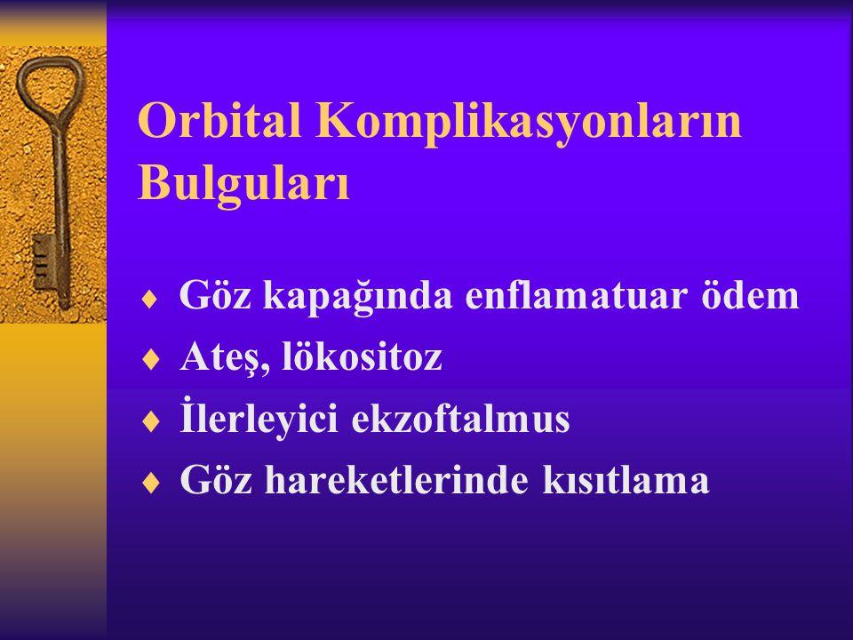 Orbital Komplikasyonların Bulguları  Göz kapağında enflamatuar ödem  Ateş, lökositoz  İlerleyici ekzoftalmus  Göz hareketlerinde kısıtlama