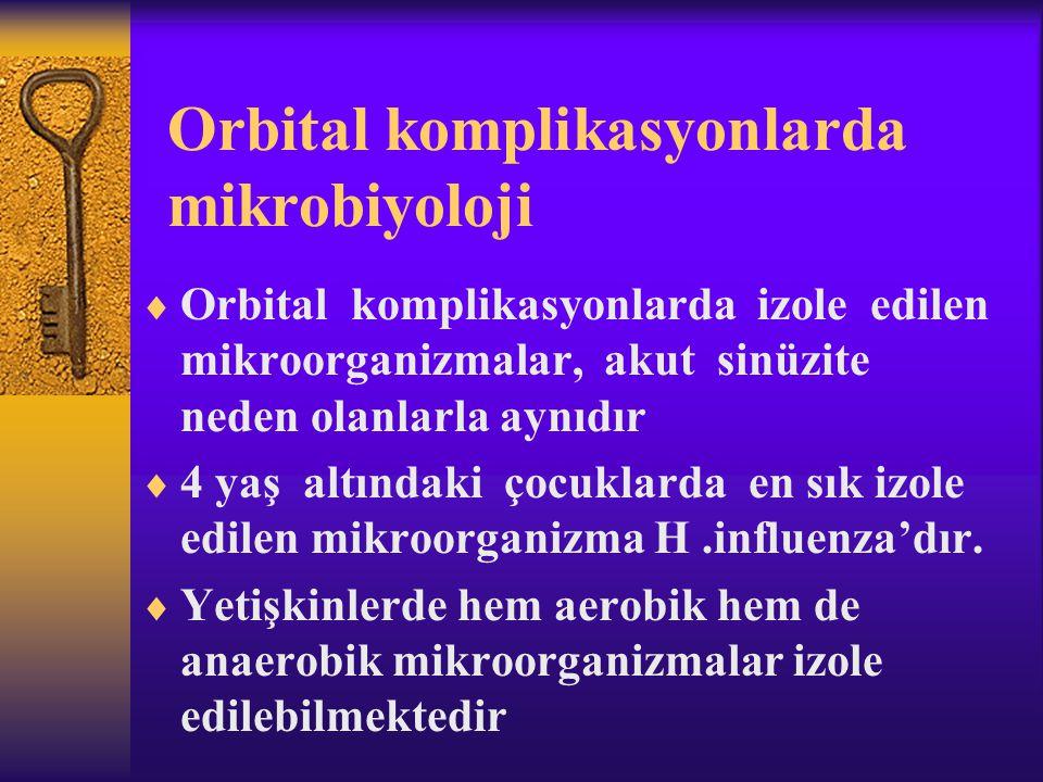 Orbital komplikasyonlarda mikrobiyoloji  Orbital komplikasyonlarda izole edilen mikroorganizmalar, akut sinüzite neden olanlarla aynıdır  4 yaş altı