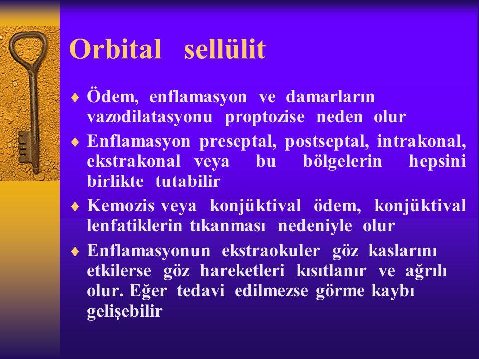 Orbital sellülit  Ödem, enflamasyon ve damarların vazodilatasyonu proptozise neden olur  Enflamasyon preseptal, postseptal, intrakonal, ekstrakonal
