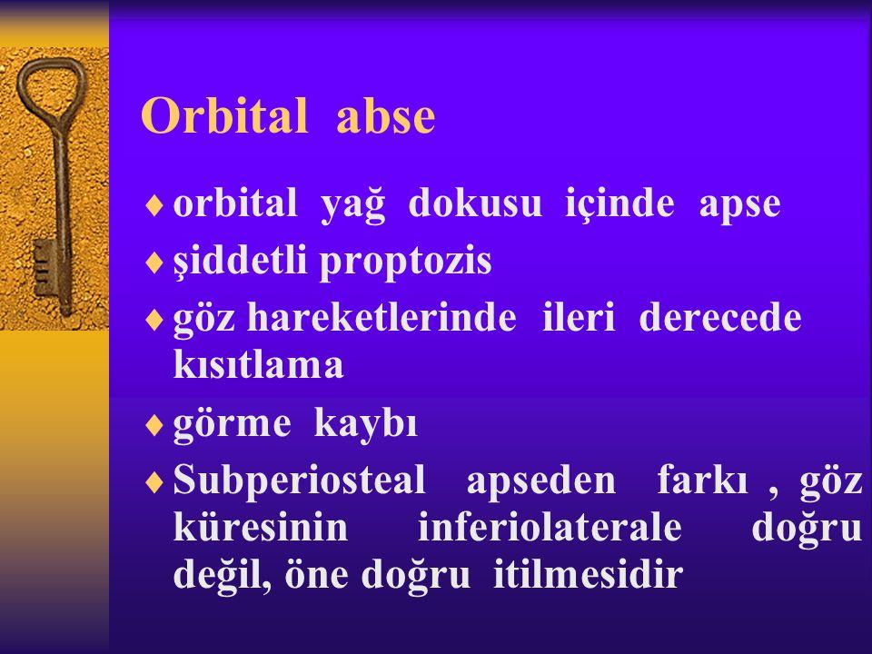 Orbital abse  orbital yağ dokusu içinde apse  şiddetli proptozis  göz hareketlerinde ileri derecede kısıtlama  görme kaybı  Subperiosteal apseden