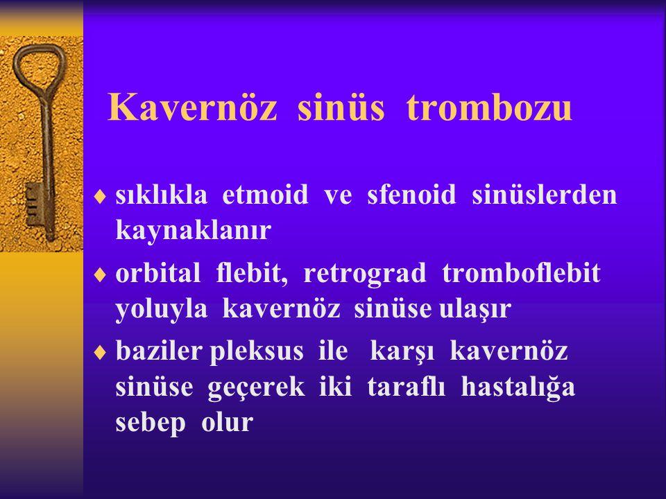 Kavernöz sinüs trombozu  sıklıkla etmoid ve sfenoid sinüslerden kaynaklanır  orbital flebit, retrograd tromboflebit yoluyla kavernöz sinüse ulaşır 