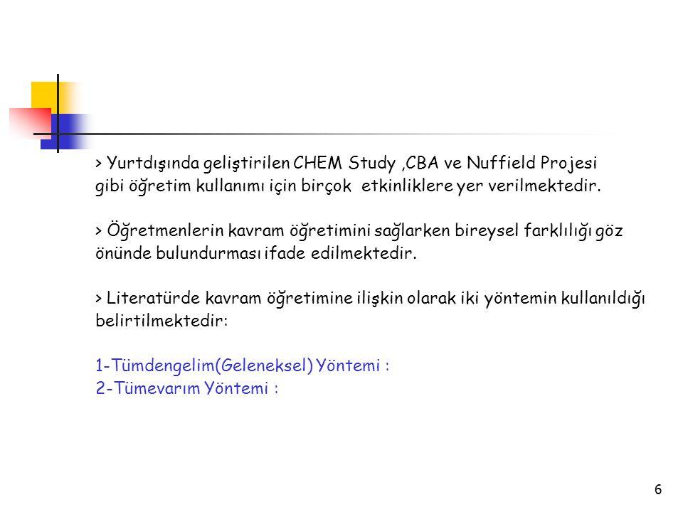 6 > Yurtdışında geliştirilen CHEM Study,CBA ve Nuffield Projesi gibi öğretim kullanımı için birçok etkinliklere yer verilmektedir. > Öğretmenlerin kav