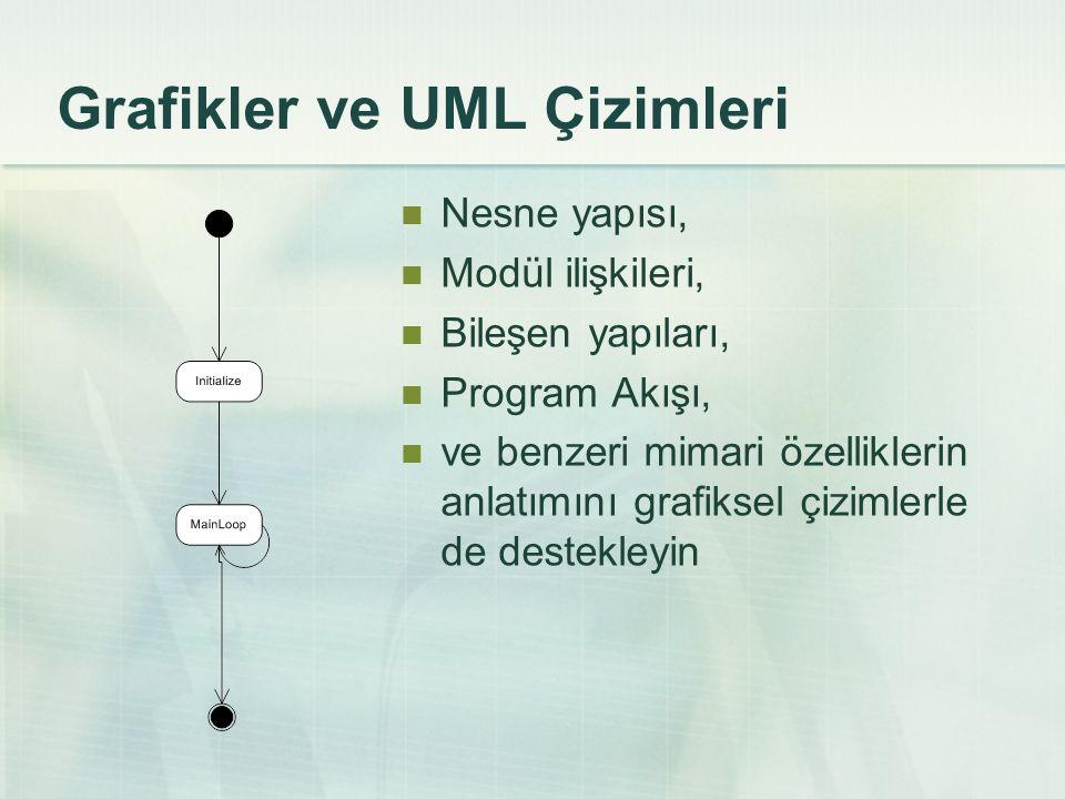Grafikler ve UML Çizimleri Nesne yapısı, Modül ilişkileri, Bileşen yapıları, Program Akışı, ve benzeri mimari özelliklerin anlatımını grafiksel çiziml