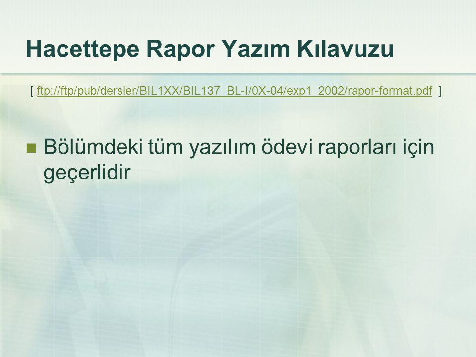 Hacettepe Rapor Yazım Kılavuzu [ ftp://ftp/pub/dersler/BIL1XX/BIL137_BL-I/0X-04/exp1_2002/rapor-format.pdf ]ftp://ftp/pub/dersler/BIL1XX/BIL137_BL-I/0