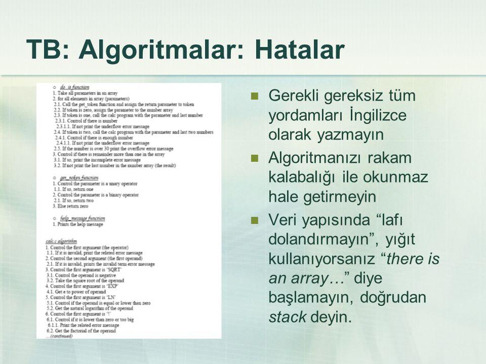TB: Algoritmalar: Hatalar Gerekli gereksiz tüm yordamları İngilizce olarak yazmayın Algoritmanızı rakam kalabalığı ile okunmaz hale getirmeyin Veri ya