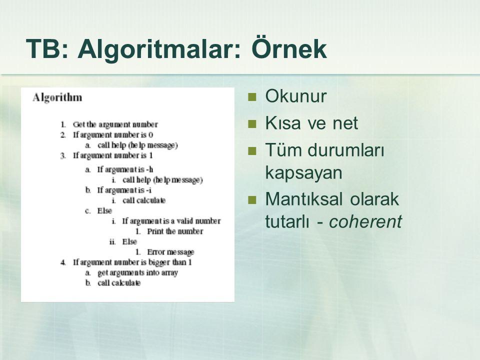 TB: Algoritmalar: Örnek Okunur Kısa ve net Tüm durumları kapsayan Mantıksal olarak tutarlı - coherent