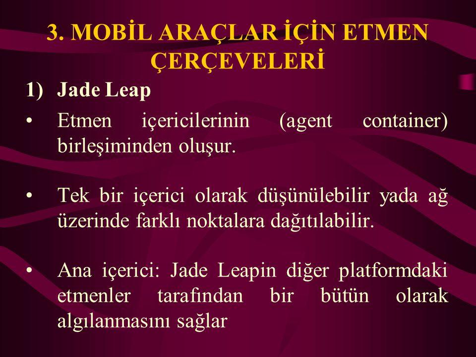 3. MOBİL ARAÇLAR İÇİN ETMEN ÇERÇEVELERİ 1)Jade Leap Etmen içericilerinin (agent container) birleşiminden oluşur. Tek bir içerici olarak düşünülebilir