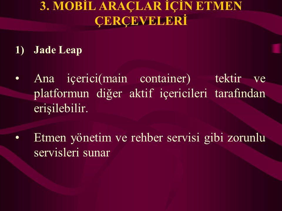3. MOBİL ARAÇLAR İÇİN ETMEN ÇERÇEVELERİ 1)Jade Leap Ana içerici(main container) tektir ve platformun diğer aktif içericileri tarafından erişilebilir.