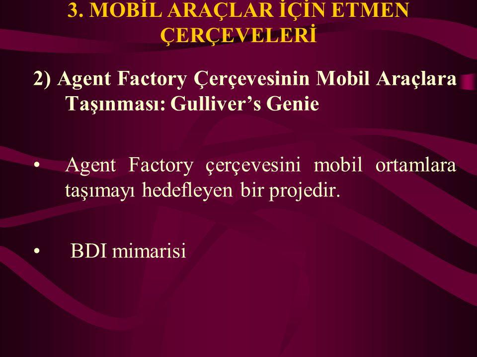 3. MOBİL ARAÇLAR İÇİN ETMEN ÇERÇEVELERİ 2) Agent Factory Çerçevesinin Mobil Araçlara Taşınması: Gulliver's Genie Agent Factory çerçevesini mobil ortam
