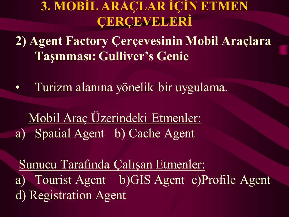 3. MOBİL ARAÇLAR İÇİN ETMEN ÇERÇEVELERİ 2) Agent Factory Çerçevesinin Mobil Araçlara Taşınması: Gulliver's Genie Turizm alanına yönelik bir uygulama.