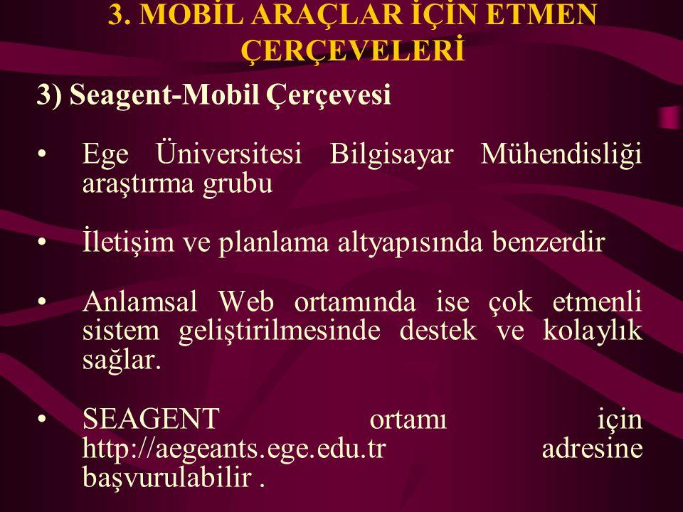 3. MOBİL ARAÇLAR İÇİN ETMEN ÇERÇEVELERİ 3) Seagent-Mobil Çerçevesi Ege Üniversitesi Bilgisayar Mühendisliği araştırma grubu İletişim ve planlama altya