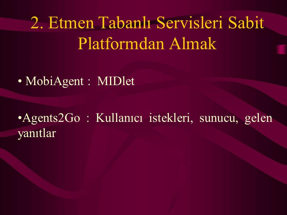 2. Etmen Tabanlı Servisleri Sabit Platformdan Almak MobiAgent : MIDlet Agents2Go : Kullanıcı istekleri, sunucu, gelen yanıtlar
