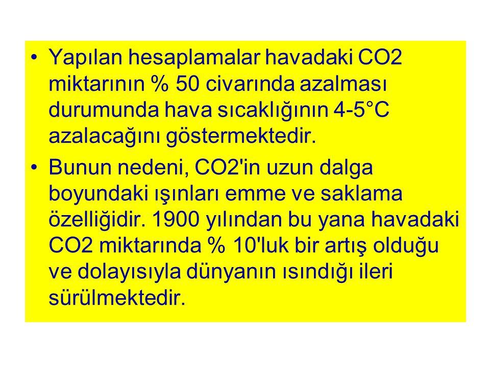 Yapılan hesaplamalar havadaki CO2 miktarının % 50 civarında azalması durumunda hava sıcaklığının 4-5°C azalacağını göstermektedir. Bunun nedeni, CO2'i