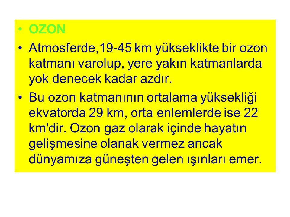 OZON Atmosferde,19-45 km yükseklikte bir ozon katmanı varolup, yere yakın katmanlarda yok denecek kadar azdır. Bu ozon katmanının ortalama yüksekliği