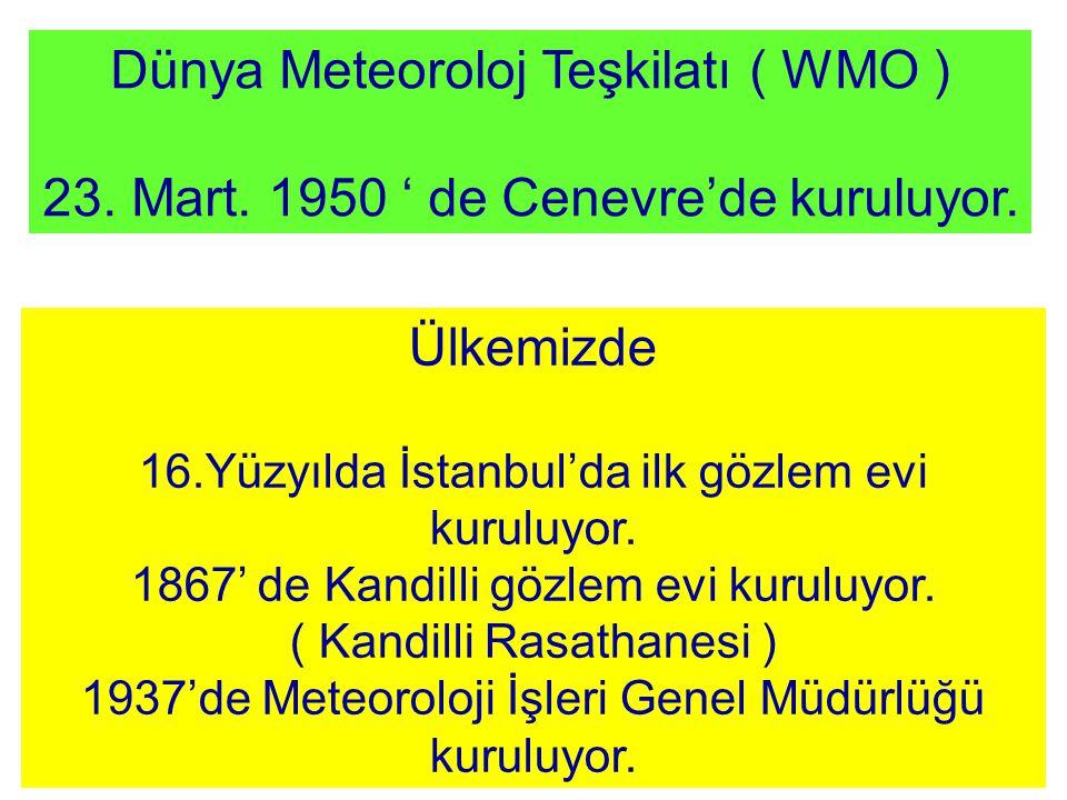 Dünya Meteoroloj Teşkilatı ( WMO ) 23. Mart. 1950 ' de Cenevre'de kuruluyor. Ülkemizde 16.Yüzyılda İstanbul'da ilk gözlem evi kuruluyor. 1867' de Kand