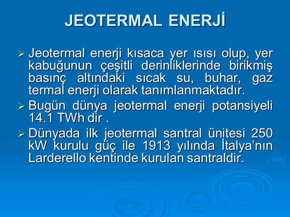 JEOTERMAL ENERJİ  Jeotermal enerji kısaca yer ısısı olup, yer kabuğunun çeşitli derinliklerinde birikmiş basınç altındaki sıcak su, buhar, gaz termal enerji olarak tanımlanmaktadır.