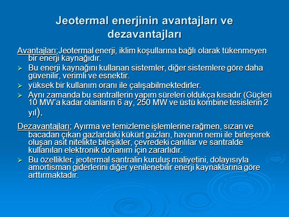 Jeotermal enerjinin avantajları ve dezavantajları Avantajları;Jeotermal enerji, iklim koşullarına bağlı olarak tükenmeyen bir enerji kaynağıdır.
