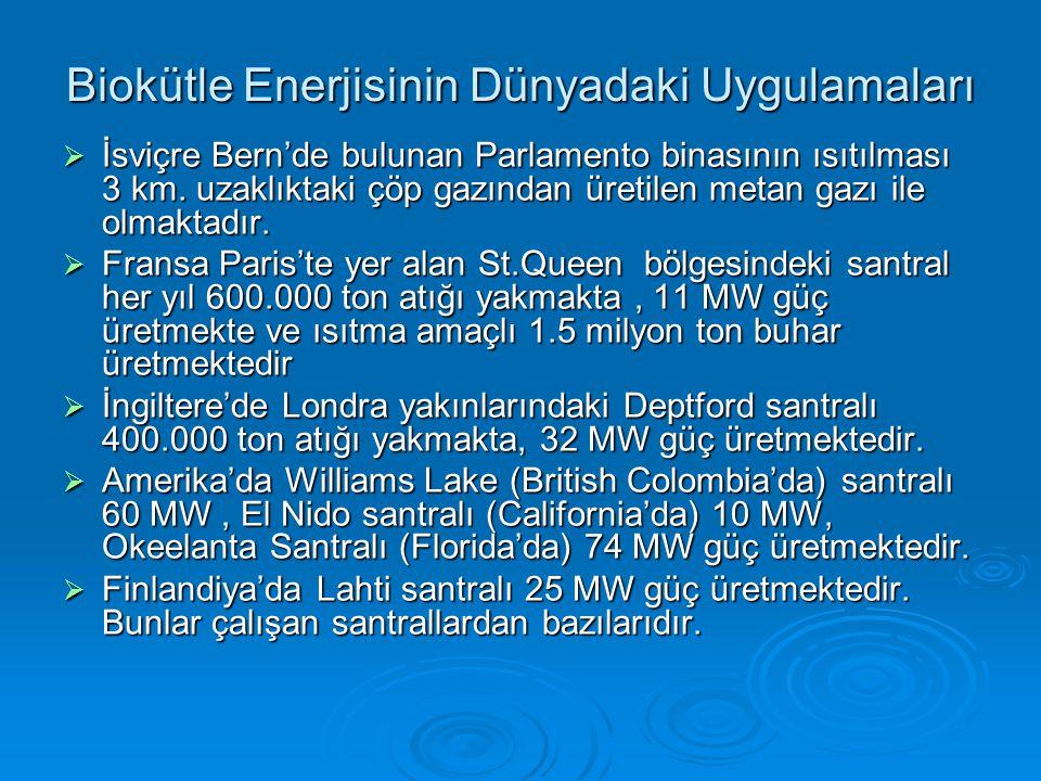 Biokütle Enerjisinin Dünyadaki Uygulamaları  İsviçre Bern'de bulunan Parlamento binasının ısıtılması 3 km.