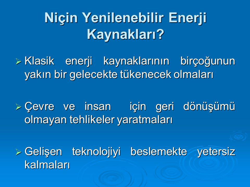 Niçin Yenilenebilir Enerji Kaynakları.