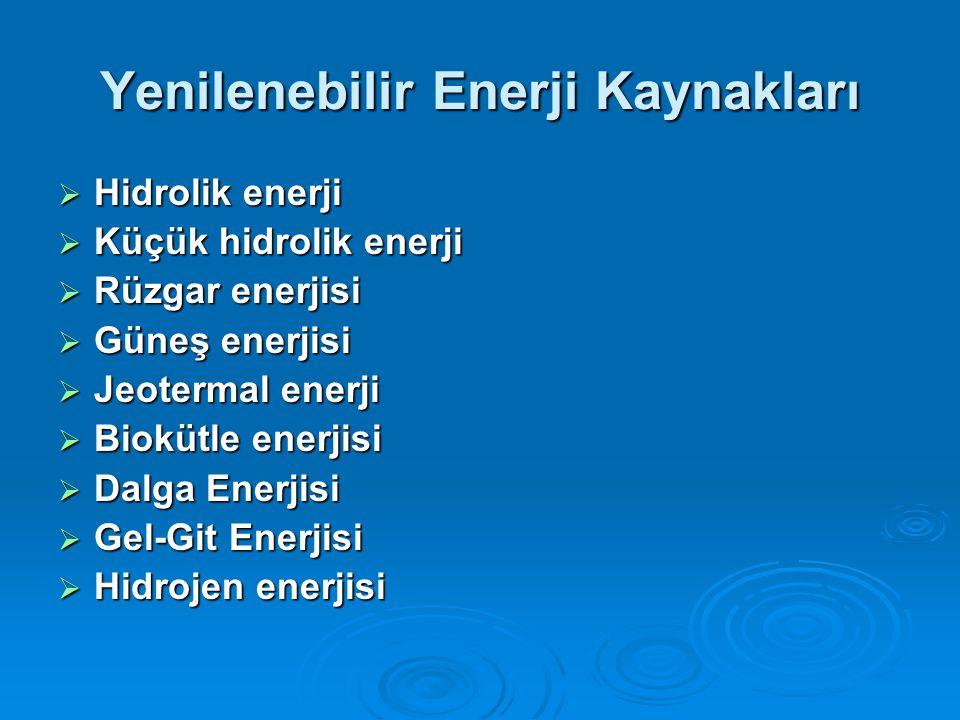 Yenilenebilir Enerji Kaynakları  Hidrolik enerji  Küçük hidrolik enerji  Rüzgar enerjisi  Güneş enerjisi  Jeotermal enerji  Biokütle enerjisi  Dalga Enerjisi  Gel-Git Enerjisi  Hidrojen enerjisi