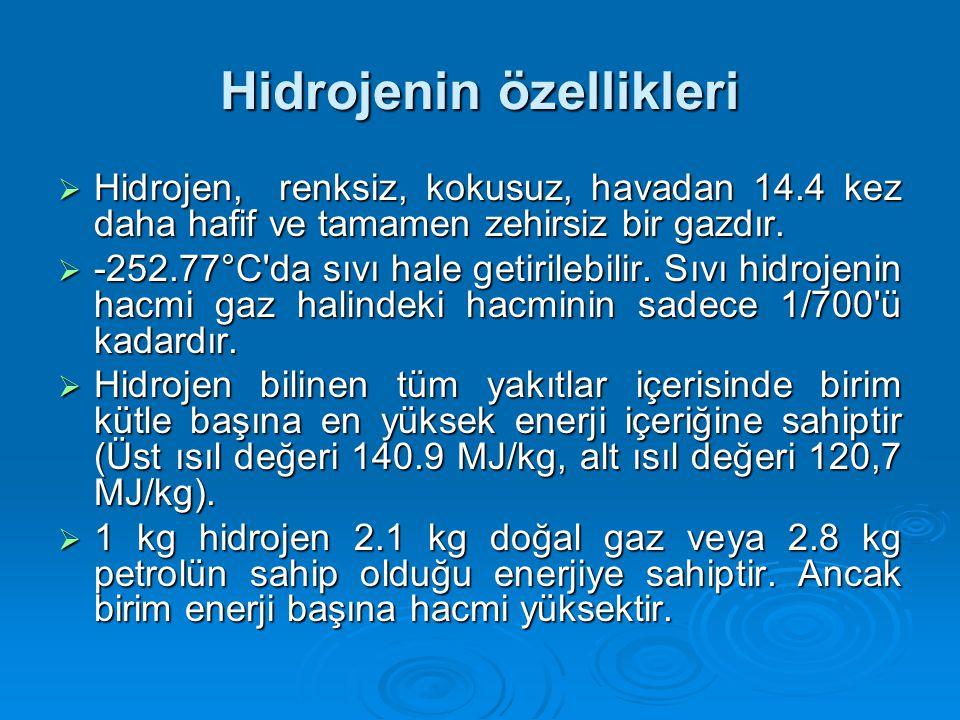 Hidrojenin özellikleri  Hidrojen, renksiz, kokusuz, havadan 14.4 kez daha hafif ve tamamen zehirsiz bir gazdır.
