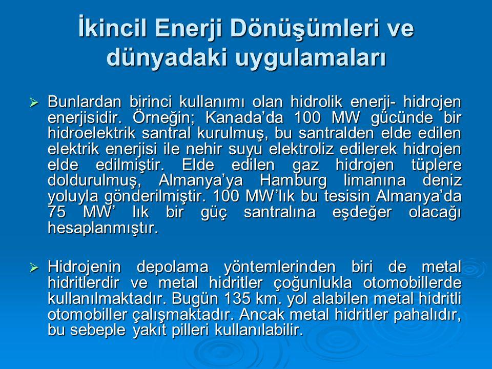 İkincil Enerji Dönüşümleri ve dünyadaki uygulamaları  Bunlardan birinci kullanımı olan hidrolik enerji- hidrojen enerjisidir.