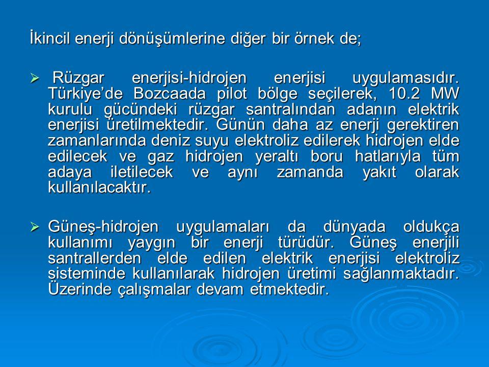 İkincil enerji dönüşümlerine diğer bir örnek de;  Rüzgar enerjisi-hidrojen enerjisi uygulamasıdır.