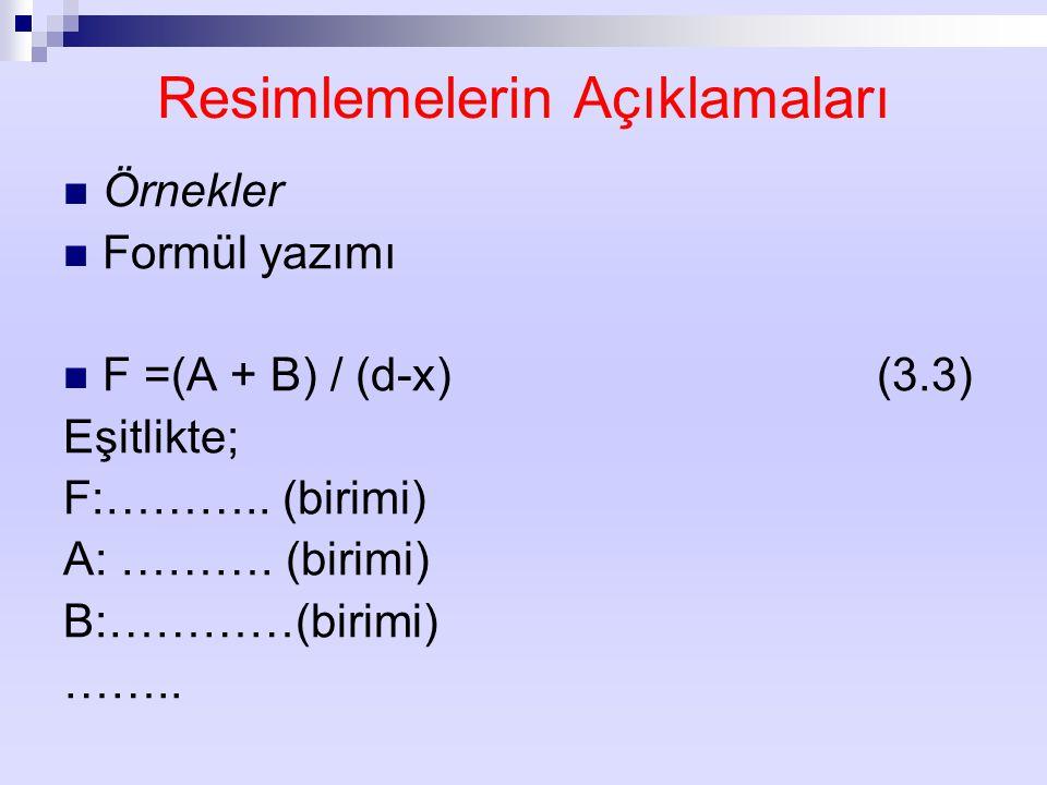 Resimlemelerin Açıklamaları Örnekler Formül yazımı F =(A + B) / (d-x) (3.3) Eşitlikte; F:……….. (birimi) A: ………. (birimi) B:…………(birimi) ……..