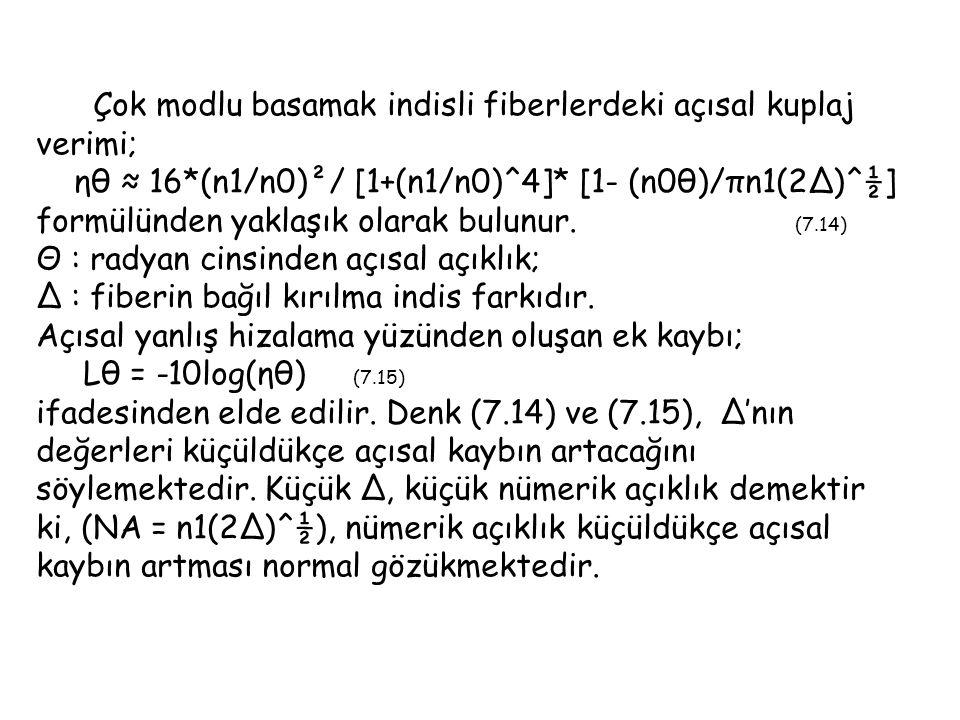 Çok modlu basamak indisli fiberlerdeki açısal kuplaj verimi; ηθ ≈ 16*(n1/n0)²/ [1+(n1/n0)^4]* [1- (n0θ)/πn1(2∆)^½] formülünden yaklaşık olarak bulunur.