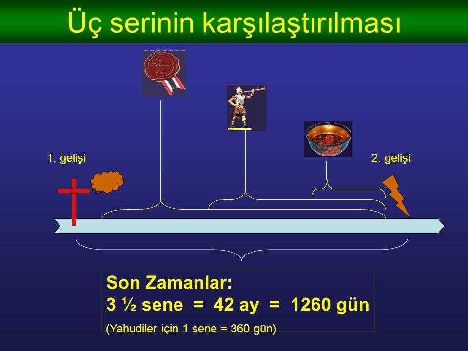 Üç serinin karşılaştırılması Yedi mühür (b. 6-7 + 8:1) Yedi borazan (b.8-9 11:14-19) Yedi tas (b. 16) 1. beygir 2. beygir 3. beygir 4. beygir şehitler