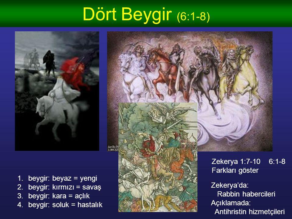 Dört Beygir (6:1-8) 1.beygir: beyaz = yengi 2.beygir: kırmızı = savaş 3.beygir: kara = açlık 4.beygir: soluk = hastalık Zekerya 1:7-10 6:1-8 Farkları göster Zekerya'da: Rabbin habercileri Açıklamada: Antihristin hizmetçileri