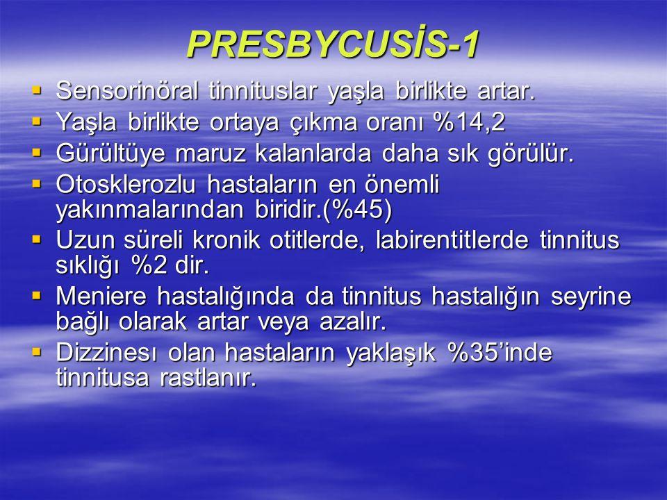 PRESBYCUSİS-1  Sensorinöral tinnituslar yaşla birlikte artar.  Yaşla birlikte ortaya çıkma oranı %14,2  Gürültüye maruz kalanlarda daha sık görülür