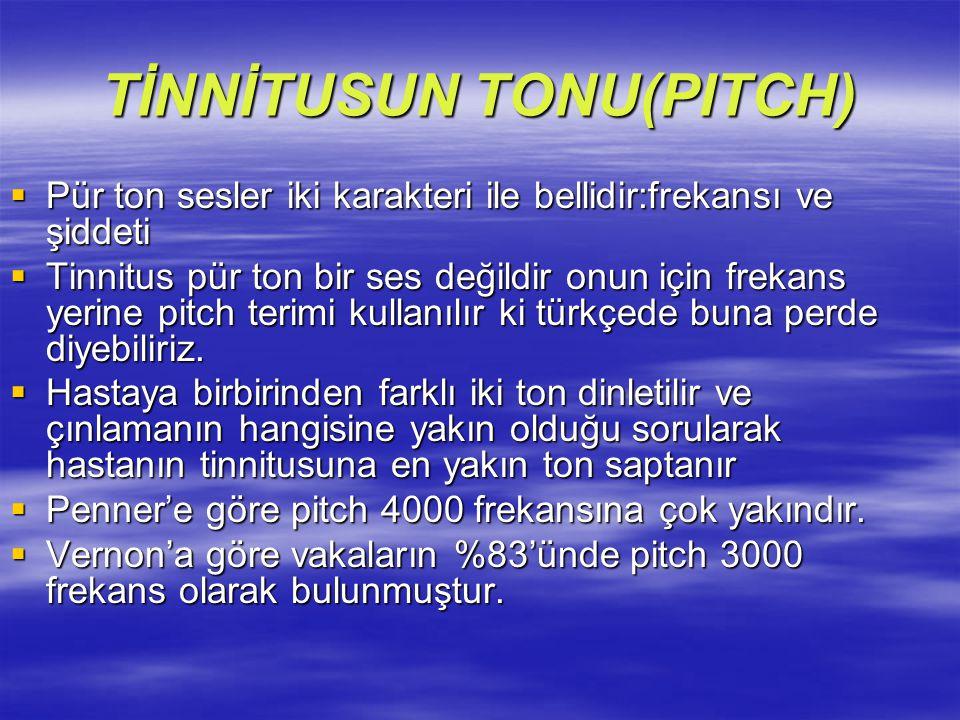 TİNNİTUSUN TONU(PITCH)  Pür ton sesler iki karakteri ile bellidir:frekansı ve şiddeti  Tinnitus pür ton bir ses değildir onun için frekans yerine pi