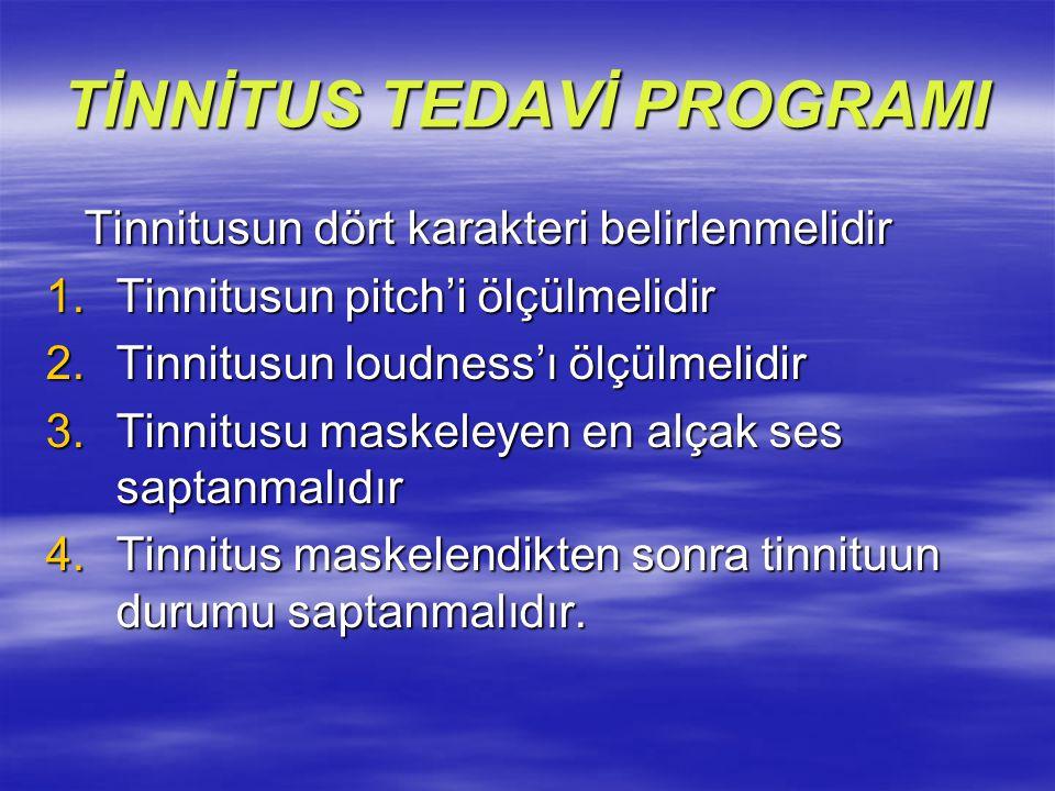TİNNİTUS TEDAVİ PROGRAMI Tinnitusun dört karakteri belirlenmelidir Tinnitusun dört karakteri belirlenmelidir 1.Tinnitusun pitch'i ölçülmelidir 2.Tinni