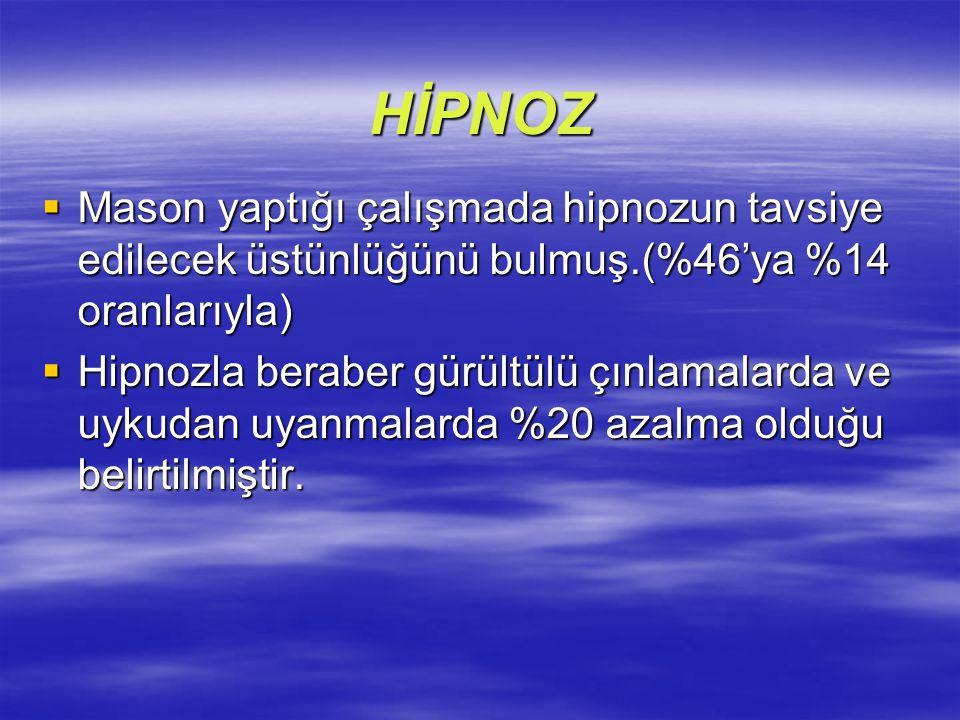 HİPNOZ  Mason yaptığı çalışmada hipnozun tavsiye edilecek üstünlüğünü bulmuş.(%46'ya %14 oranlarıyla)  Hipnozla beraber gürültülü çınlamalarda ve uy
