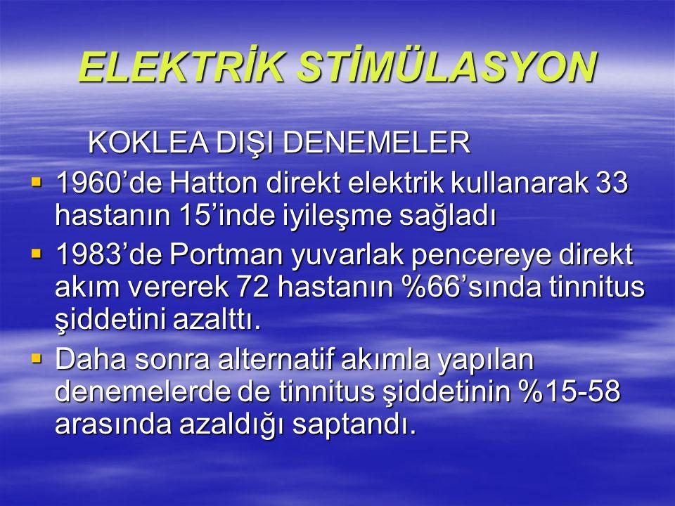 ELEKTRİK STİMÜLASYON KOKLEA DIŞI DENEMELER KOKLEA DIŞI DENEMELER  1960'de Hatton direkt elektrik kullanarak 33 hastanın 15'inde iyileşme sağladı  19