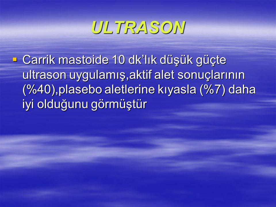 ULTRASON  Carrik mastoide 10 dk'lık düşük güçte ultrason uygulamış,aktif alet sonuçlarının (%40),plasebo aletlerine kıyasla (%7) daha iyi olduğunu gö