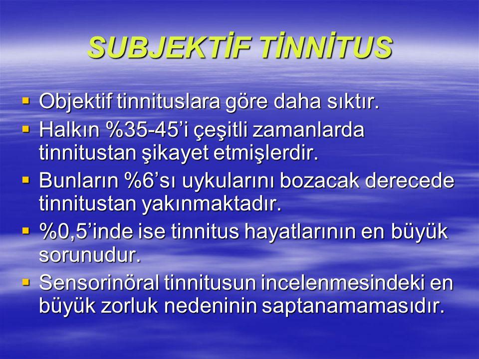SUBJEKTİF TİNNİTUS  Objektif tinnituslara göre daha sıktır.  Halkın %35-45'i çeşitli zamanlarda tinnitustan şikayet etmişlerdir.  Bunların %6'sı uy