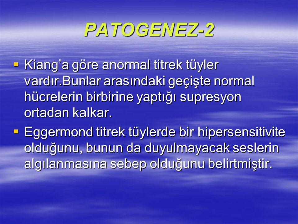 PATOGENEZ-2  Kiang'a göre anormal titrek tüyler vardır.Bunlar arasındaki geçişte normal hücrelerin birbirine yaptığı supresyon ortadan kalkar.  Egge