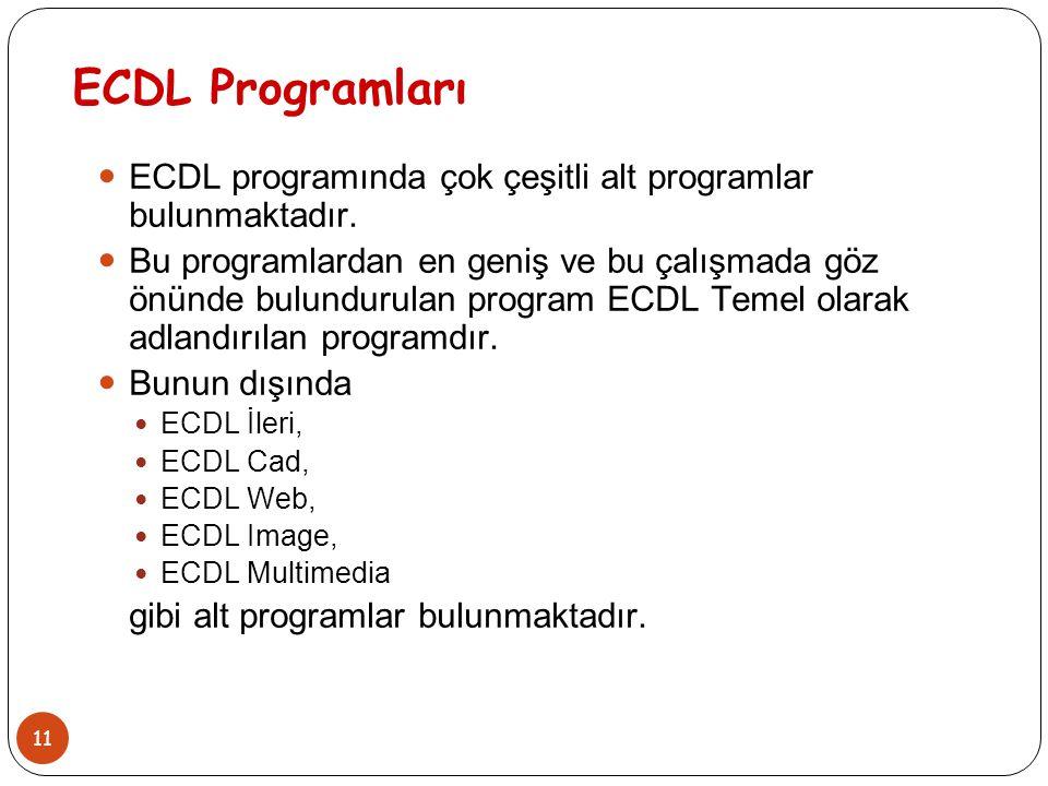 11 ECDL Programları ECDL programında çok çeşitli alt programlar bulunmaktadır. Bu programlardan en geniş ve bu çalışmada göz önünde bulundurulan progr