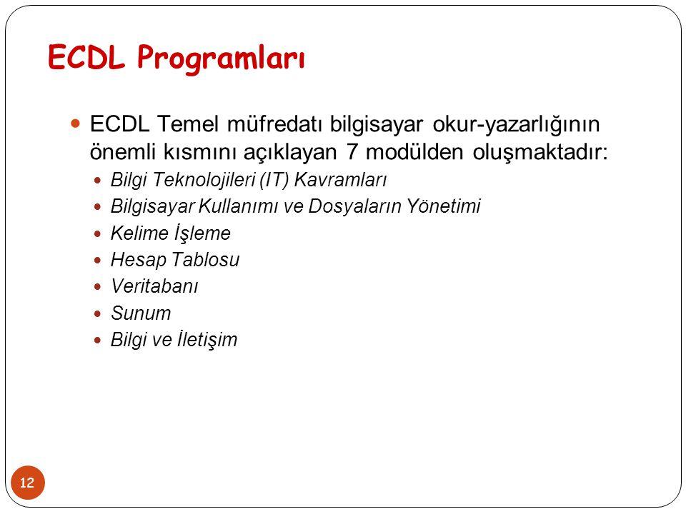 12 ECDL Programları ECDL Temel müfredatı bilgisayar okur-yazarlığının önemli kısmını açıklayan 7 modülden oluşmaktadır: Bilgi Teknolojileri (IT) Kavra