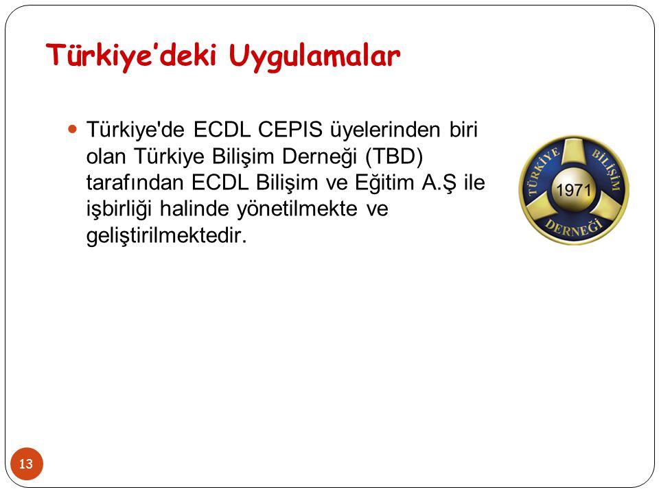 13 Türkiye'deki Uygulamalar Türkiye'de ECDL CEPIS üyelerinden biri olan Türkiye Bilişim Derneği (TBD) tarafından ECDL Bilişim ve Eğitim A.Ş ile işbirl