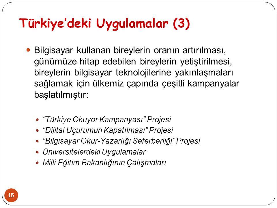 15 Türkiye'deki Uygulamalar (3) Bilgisayar kullanan bireylerin oranın artırılması, günümüze hitap edebilen bireylerin yetiştirilmesi, bireylerin bilgi
