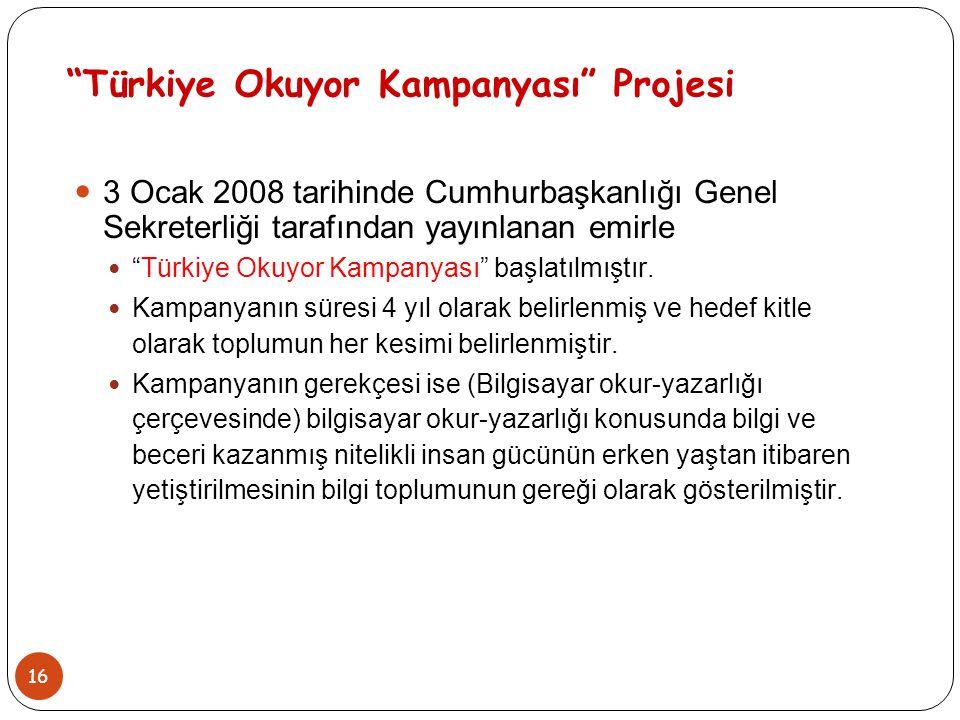 """16 """"Türkiye Okuyor Kampanyası"""" Projesi 3 Ocak 2008 tarihinde Cumhurbaşkanlığı Genel Sekreterliği tarafından yayınlanan emirle """"Türkiye Okuyor Kampanya"""