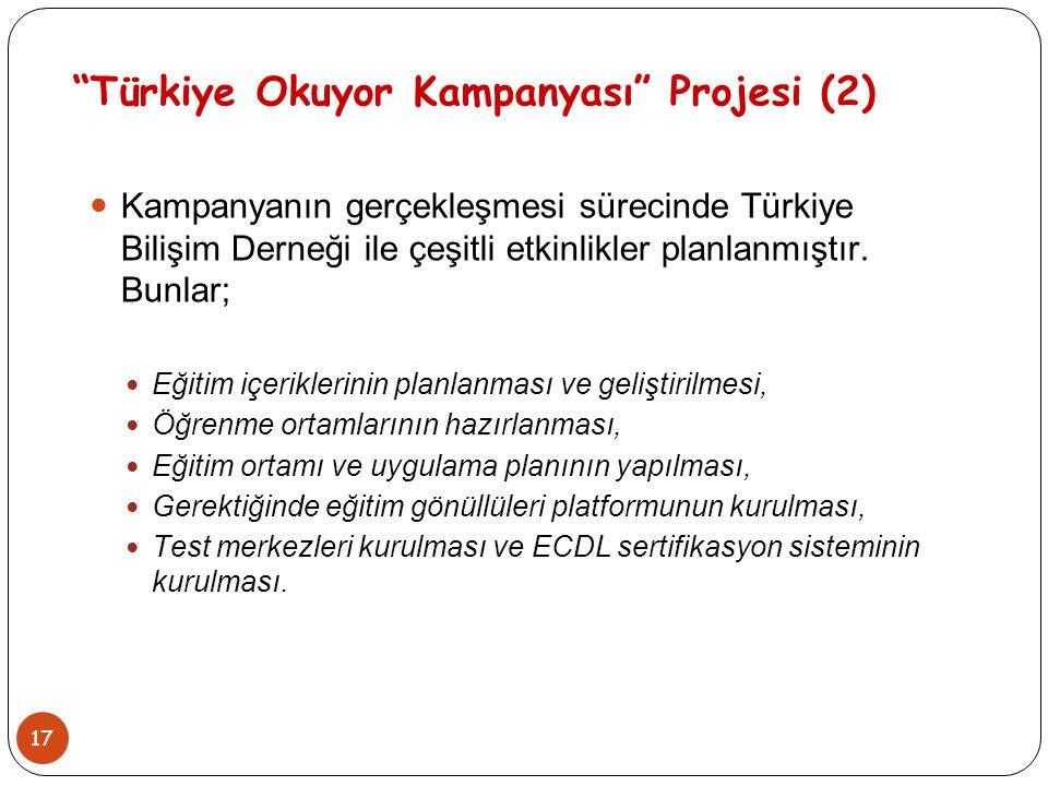 """17 """"Türkiye Okuyor Kampanyası"""" Projesi (2) Kampanyanın gerçekleşmesi sürecinde Türkiye Bilişim Derneği ile çeşitli etkinlikler planlanmıştır. Bunlar;"""